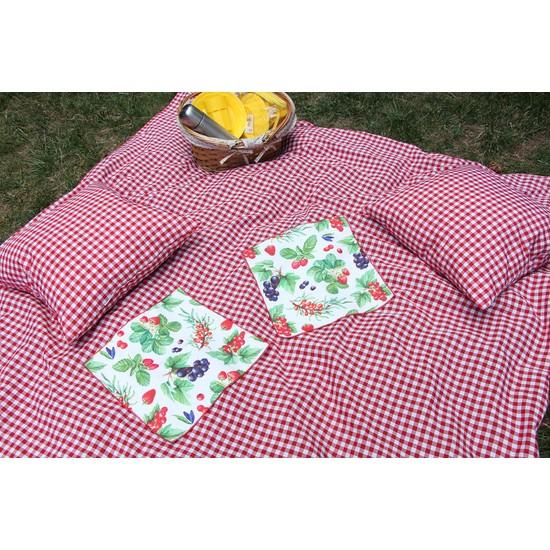 Kırmızı Pötikareli Piknik Örtüsü 170X170, Piknik Minderi 50X50, Amerikan Servis 45X35