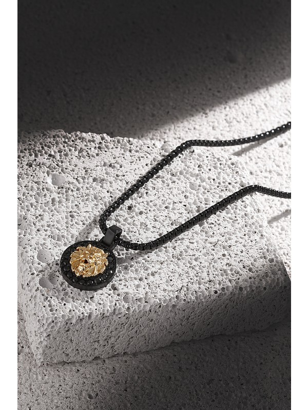 Frnch Aslan Figürlü Zirkon Taşlı Mat Siyah-Gold Renk Erkek Kolye FRJ30427-527-B2G