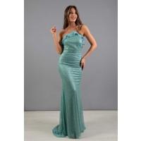 Carmen Yeşil Straplez Kuyruğu Volanlı Nikah Elbisesi