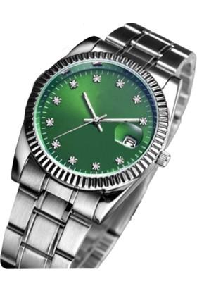 Black Point Gümüş Renk Yeşil Kadran Takvimli Çelik Zarif Kadın Kol Saati