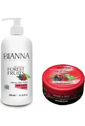 Bıanna Orman Meyveleri El ve Vücut Losyonu 400 ml + Black & Red Orman Meyveleri Killi Yüz Maskesi 400 ml