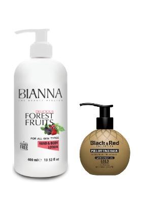 Bıanna Orman Meyveleri El ve Vücut Losyonu 400ML + Black & Red Soyulabilir Yüz Maskesi Gold 250ML