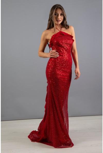 Carmen Kırmızı Straplez Kuyruğu Volanlı Nikah Elbisesi