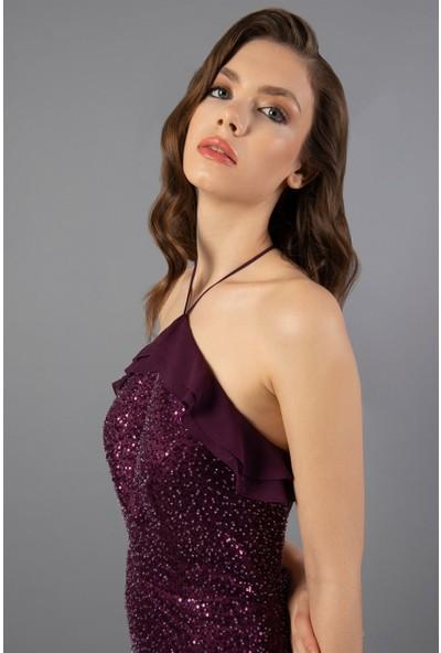 Carmen Mürdüm Straplez Kuyruğu Volanlı Nikah Elbisesi