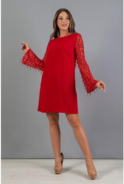 Carmen Kırmızı Kolları Püskül Payetli Büyük Beden Abiye Elbise
