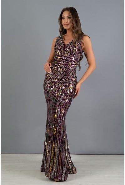 Carmen Mürdüm Payetli V Yaka Dekolteli Balık Abiye Elbise
