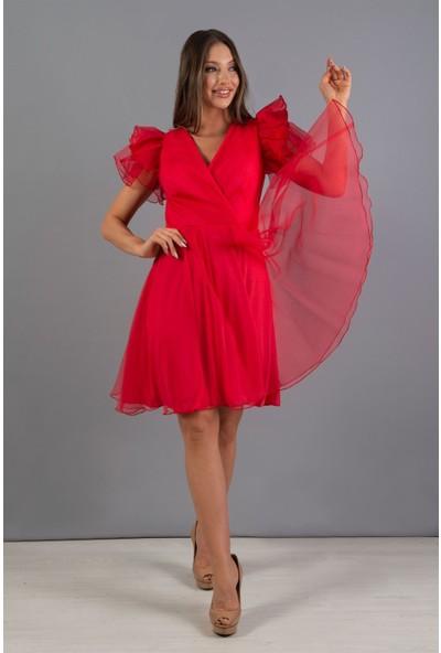Carmen Kırmızı Organze Kruvaze Kısa Abiye Elbise