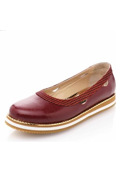 İriadam 17345 Bordo Büyük Numara Gündelik Kadın Ayakkabısı