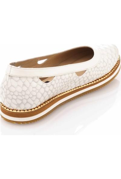 İriadam 17345 Beyaz Büyük Numara Gündelik Kadın Ayakkabısı