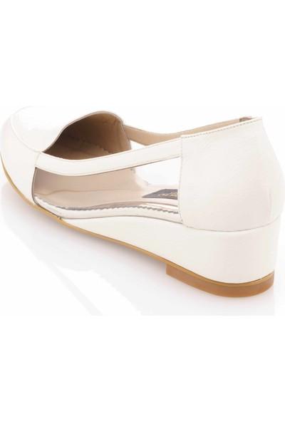 İriadam 17309 Beyaztransparan Büyük Numara Gündelik Kadın Ayakkabısı