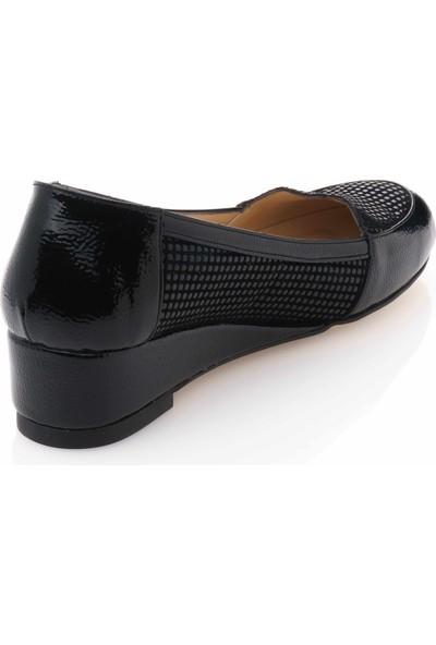 İriadam 17309 Siyah Baskı Büyük Numara Gündelik Kadın Ayakkabısı