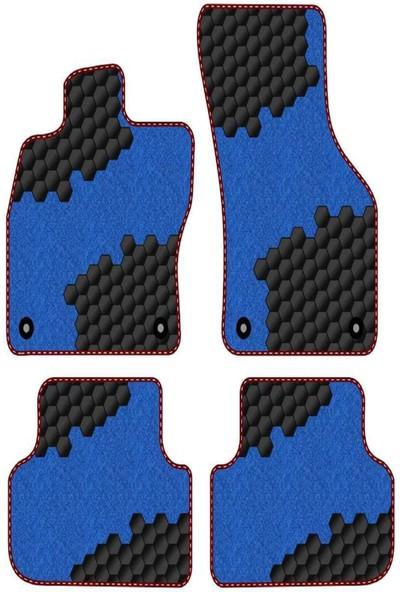 Tegin Bmw 1 Serisi E82 2007-2013 -Hatchback-3d Uyumlu Mavi Halı Siyah Desen Bordo Kenar Plus Paspas
