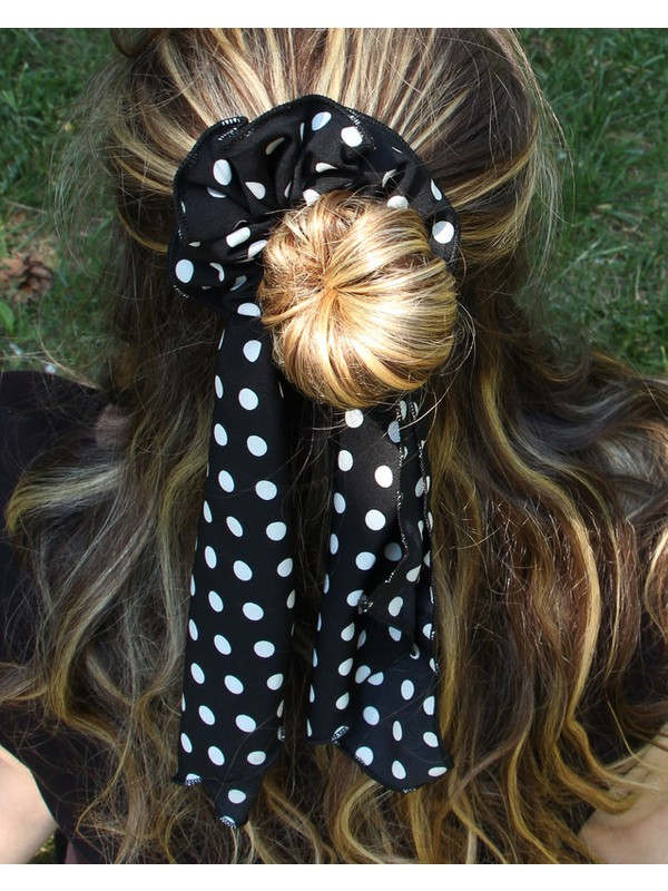 Renkli Kumaş Fularlı Saç Bandı