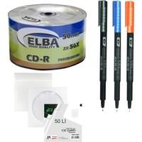 Elba Cd-R 700MB 56X 80MIN 50 Li Boş CD + Gen-Of 50 Li CD Zarfı + 3 Lü Asetat Kalemi