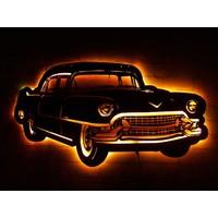 MF Tasarım Rgb Kumandalı Araba Belair 56' Chevrolet LED Işıklı Ahşap Mdf Dekoratif Tablo 50X30
