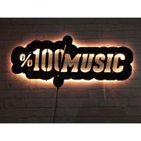 MF Tasarım Rgb Kumandalı Müzik LED Işıklı Ahşap Mdf Dekoratif Tablo 50 x 25 cm