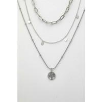 Sortie Accessories Yılan Figürlü Kombin Kolye 087 Gümüş Rengi