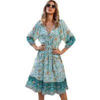 Gogoo Etekli Bohem Yazlık Elbise-Mavi (Yurt Dışından)