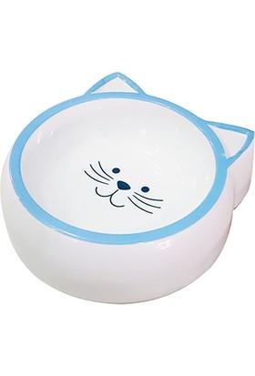 Pet Loves Kedi Desenli Melamin Kedi ve Köpek Mama Veya Su Kabı Mavi 210 ml