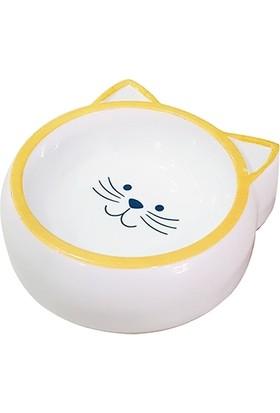 Pet Loves Kedi Desenli Melamin Kedi ve Köpek Mama Veya Su Kabı Sarı 210 ml