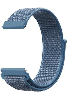 Mobicas Samsung Gear Live (20MM) Kumaş Desenli Çırtçırlı Kayış Kordon Mavi