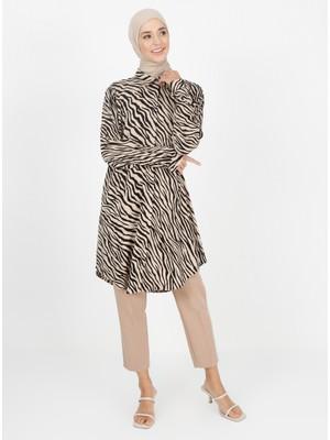 Zebra Desenli Tunik - Vizon - Zenane