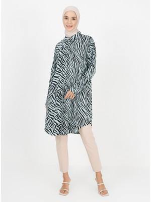 Zebra Desenli Tunik - Nefti - Zenane