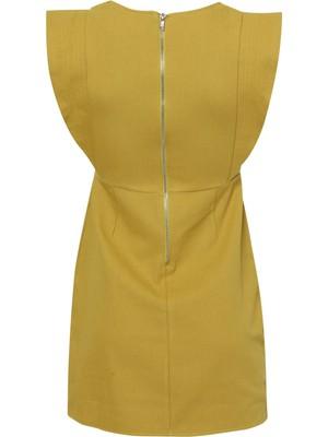 Quzu Kolları Volan Detaylı Elbise Olive