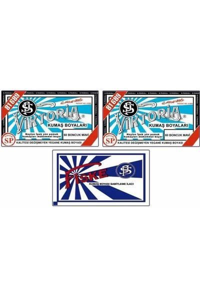 Viktoria 60 Kumaş Boyası Boncuk Mavi 2'li + Fiske Sabitleyici