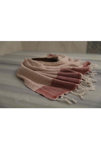 Mco Tekstil Kırmızı Desenli Peştamal Takımı 2'li Set