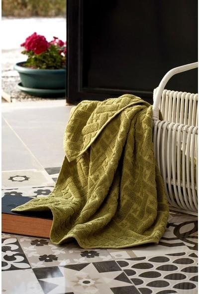 Mco Tekstil Yeşil Jakarlı El ve Yüz Havlusu Olive 2'li Paket