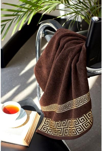 Mco Tekstil Kahve Bordürlü Havlu Seti Goldies