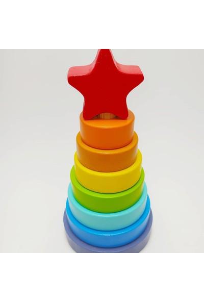 Lider Oyuncak Renkli Ahşap Yuvarlak Yıldızlı Kule Eğitici Oyuncak