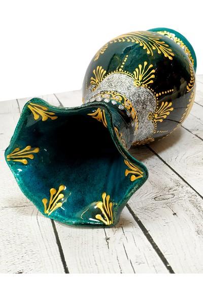 Otogar Çini El Yapımı 30 cm Çini Marul Vazo Gold Yaldızlı-Turkuaz Renk