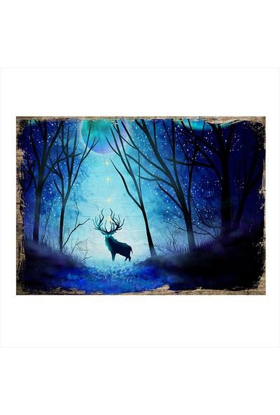 Tablomega Gece ve Geyik Dekoratif Ahşap Tablo