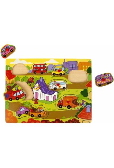 Woody Ahşap Bultak Tutmalı Puzzle 8 Parça - Itfaiye