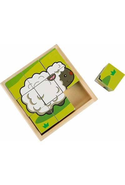 Woody Ahşap Hayvanlar Küp Puzzle - Koyun