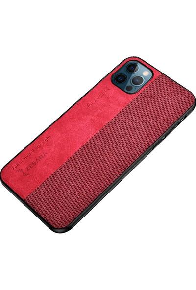 Zebana Apple iPhone 12 Pro Max Kılıf Zebana Kombin Silikon Kılıf Kırmızı