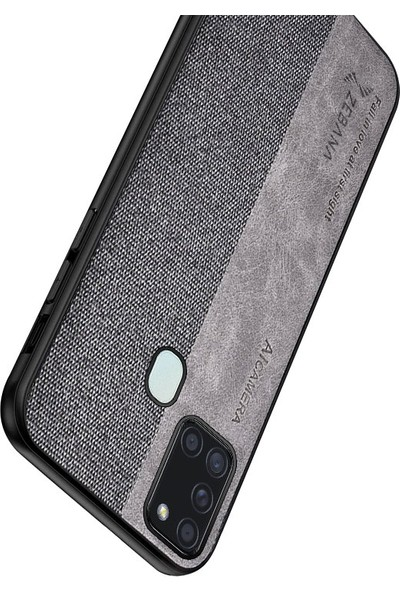 Zebana Samsung Galaxy A21S Kılıf Zebana Kombin Silikon Kılıf Gri