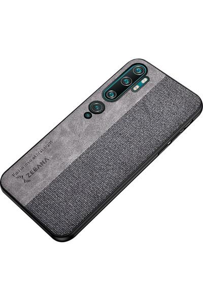 Zebana Xiaomi Mi Note 10 Kılıf Zebana Kombin Silikon Kılıf Gri