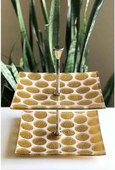 Sunu Gold Circles 2 Katlı Altın Renkli Cam Servis Tabağı 20 x 20 cm