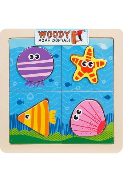 Woody Ahşap Puzzle Hayvanlar 8 Parça - Deniz
