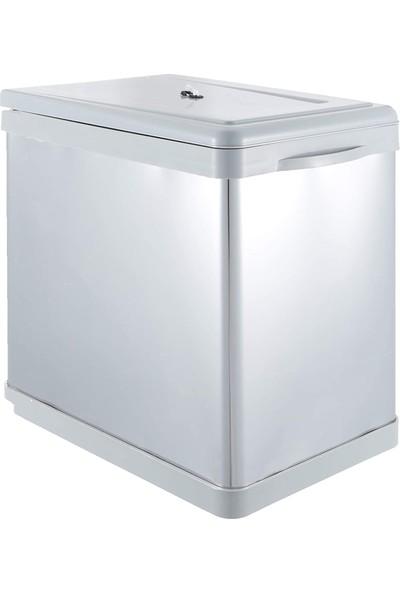 Sas Dolap Içi Tezgah Altı Raylı Mutfak Çöp Kovası 16 Litre Çift Kovalı