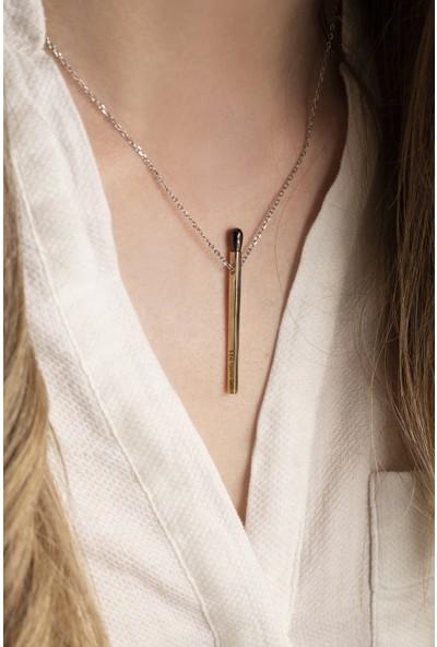 Lili Pırlanta Kadın 925 Ayar Gümüş Kibrit Tasarımlı Kolye