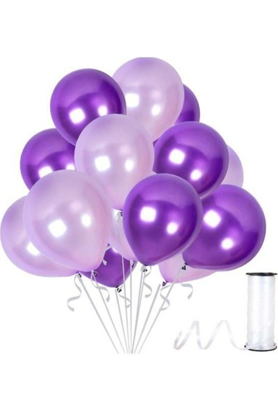 Hknys 30 Adet Metalik Sedefli Mor, Lila Balon-Uçan- Balon
