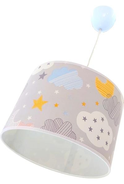 Uyumamy Bulutlu Yıldızlı Çocuk Avizesi Bebek Odası Abajuru Dekoratif Aydınlatma Gri Sarkıt