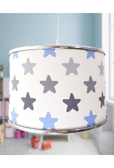 Uyumamy Yıldızlı Çocuk Avizesi Mavi Bebek Odası Abajuru Dekoratif Aydınlatma Sarkıt