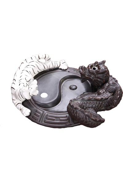 Hediye Sahibi Beyaz Kaplan ve Ejderha Tasarımlı Geri Akışlı Tütsülük 15*19*7*cm - Tütsü Hediyeli
