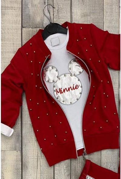 Riccotarz Kız Çocuk Boncuklu Minnie Kırmızı Eşofman Takım