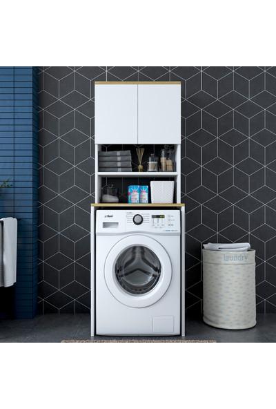 Rani KD101 - Çamaşır Makinesi Dolabı 3 Raflı Kapaklı Banyo Dolabı